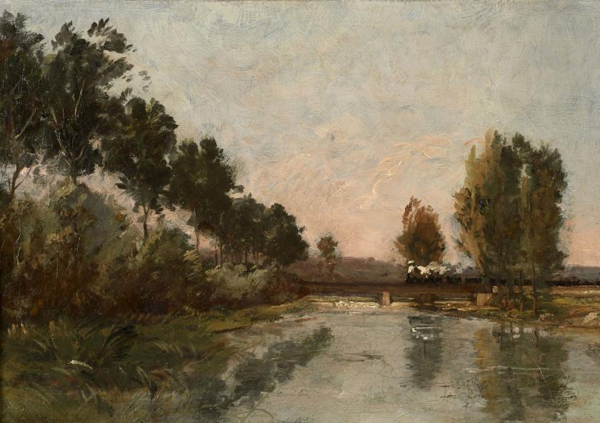 Karl Daubigny Paris, 1846 - Auvers-sur-Oise, 1886 Train traversant une rivière