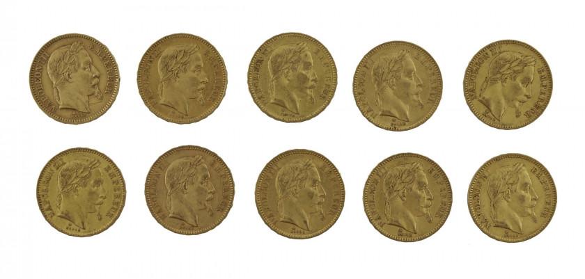 FRANCE 20 Francs. Napoléon III, Tête laurée. 7 p. 1863, 2 p. 1864, 1 p...
