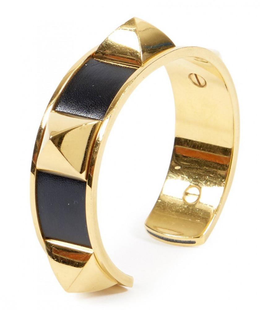 65b3b48ac4 HERMÈS Bracelet MÉDOR Box noir Métal plaqué or Bracelet CROISETTE Argent ( 925) Taille ...