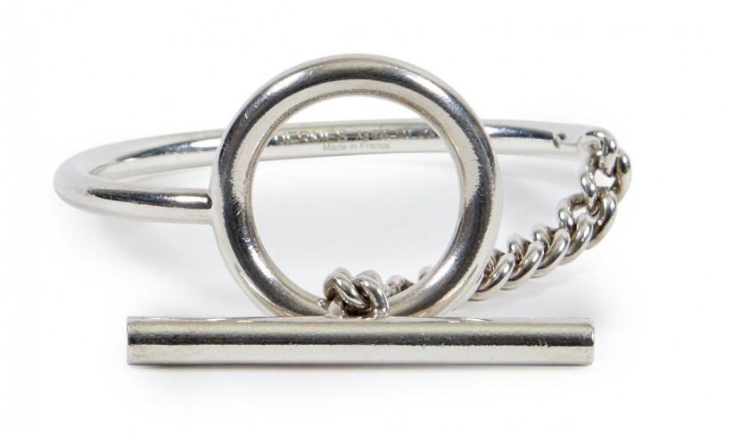 1643cc52a63 ... HERMÈS Bracelet MÉDOR Box noir Métal plaqué or Bracelet CROISETTE Argent  (925) Taille ...