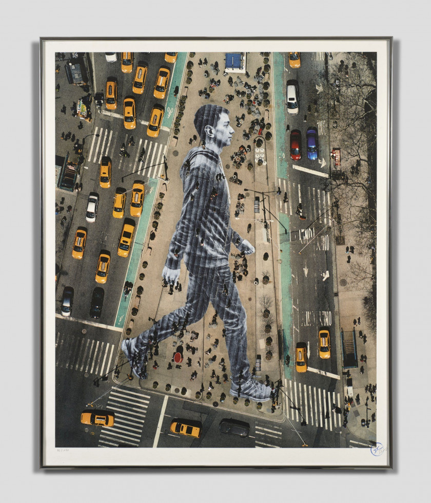 J.R. Né en 1984 Migrants, walking New York City -2015 Lithographie 8 couleurs sur papier BFK Rives blanc