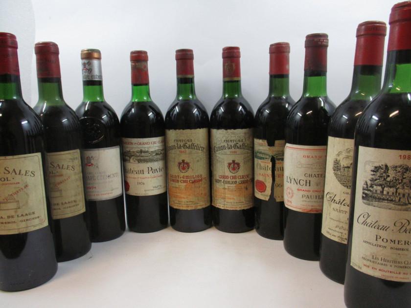 10 bouteilles 1 bt : CHÂTEAU DE SALES 1964 Pomerol (haute épaule, étiquette...