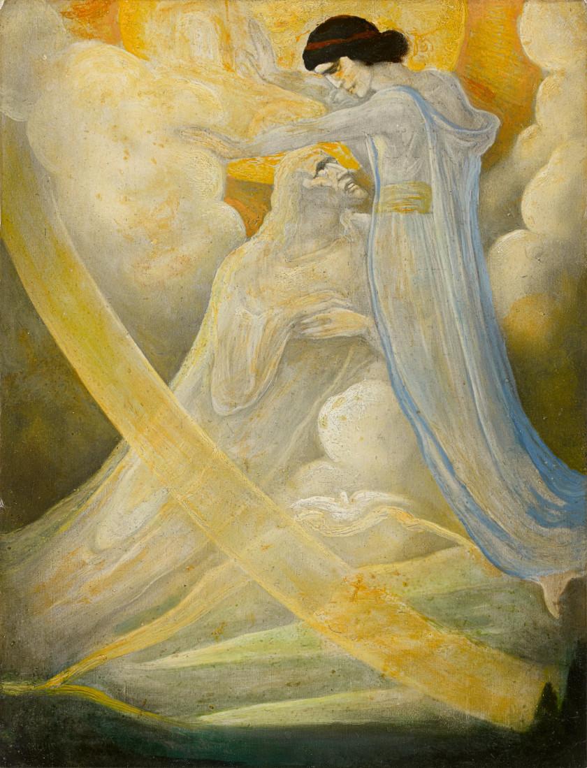 Léonard Sarluis La Haye, 1874 - Paris, 1949 Scène biblique : la Trinité