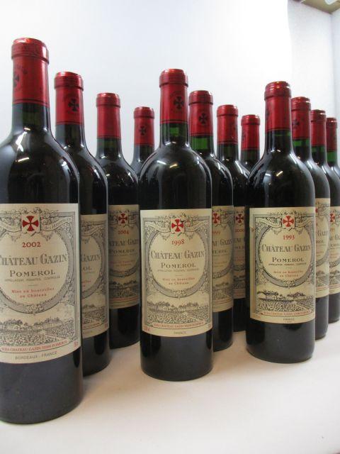 12 bouteilles 1 bt : CHÂTEAU GAZIN 1993 Pomerol (étiquette léger tachée)1...