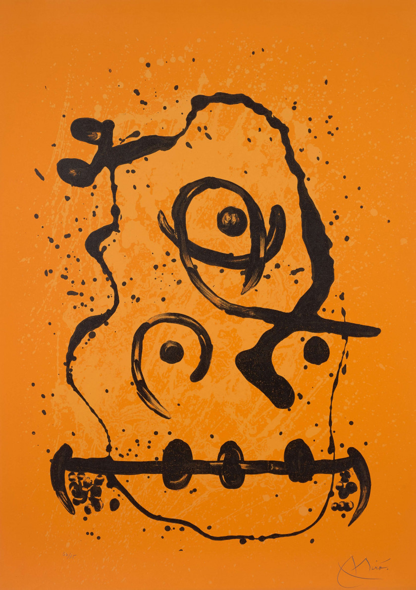 Joan MIRO (1893 - 1983) Le polyglotte - orange - 1969