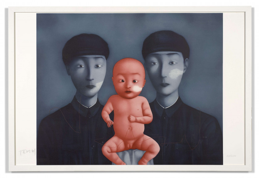 ZHANG XIAOGANG (Né en 1958) Comrades with red baby - 2009