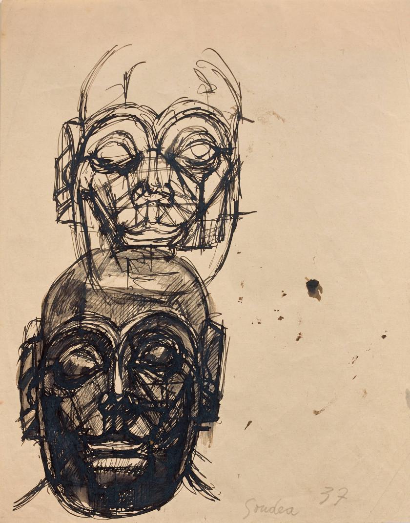 Alberto GIACOMETTI 1901 - 1966 D''après une sculpture sumérienne : Têtes de...