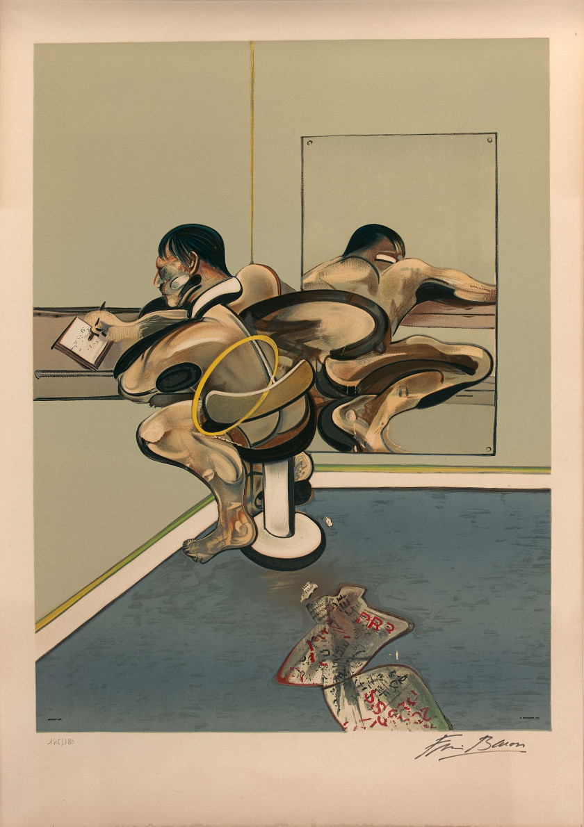Francis BACON (1909-1992) Figure Writing Reflected in a Mirror - 1977