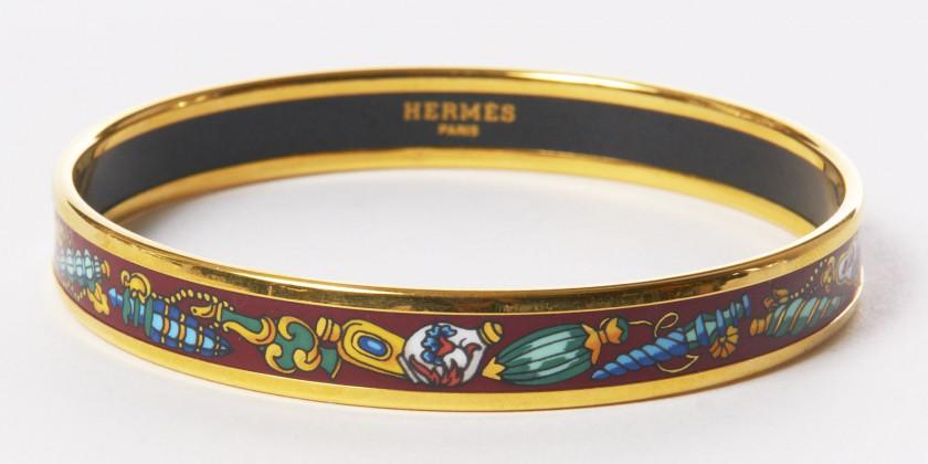 HERMES Paris made in austria Bracelet fin en émail plaqué or ff9274171b2