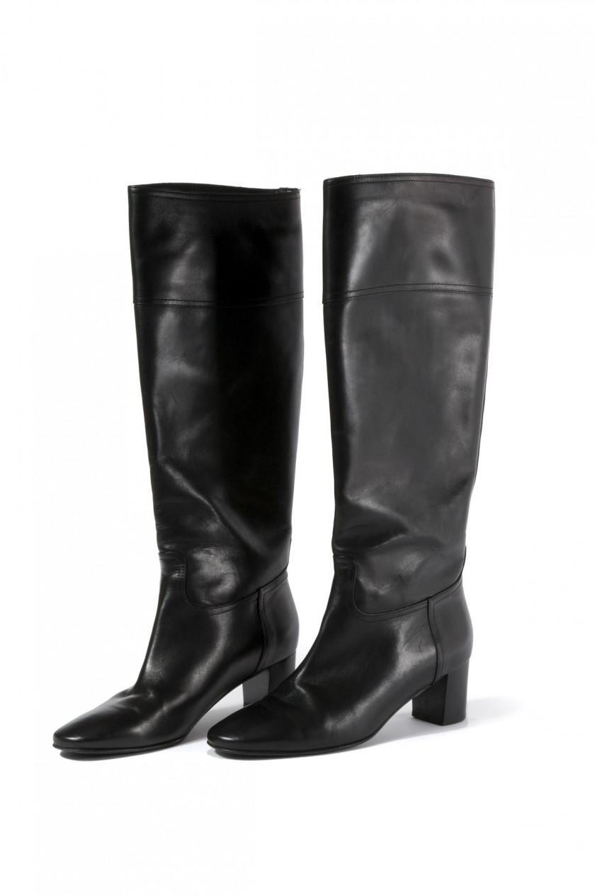 HERMES Paris made in italy Paire de bottes pour femme en agneau noir. Taille   071146825e4