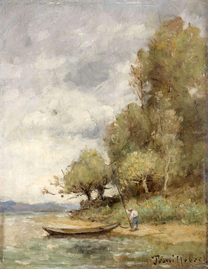 Paul-Désiré Trouillebert Paris, 1829 - 1900 Homme à la barque