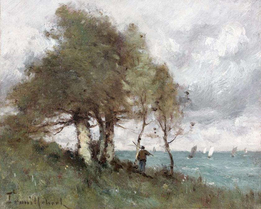 Paul-Désiré Trouillebert Paris, 1829 - 1900 Pêcheur au bord de la mer...