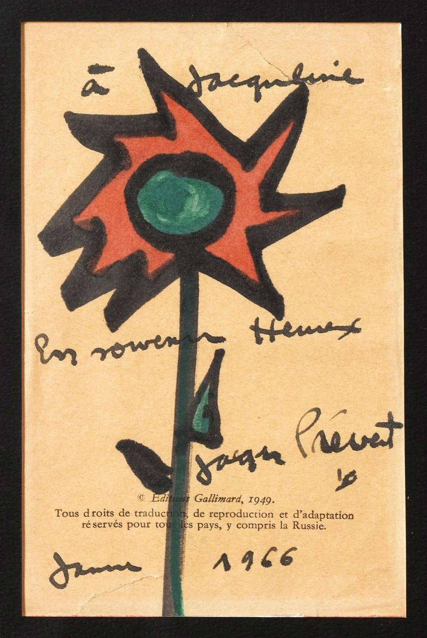 ... Jacques PREVERT 2 dessins et dedicaces, 1966 3 p. encadrées tirées de  deux ouvrages bdd35e50656