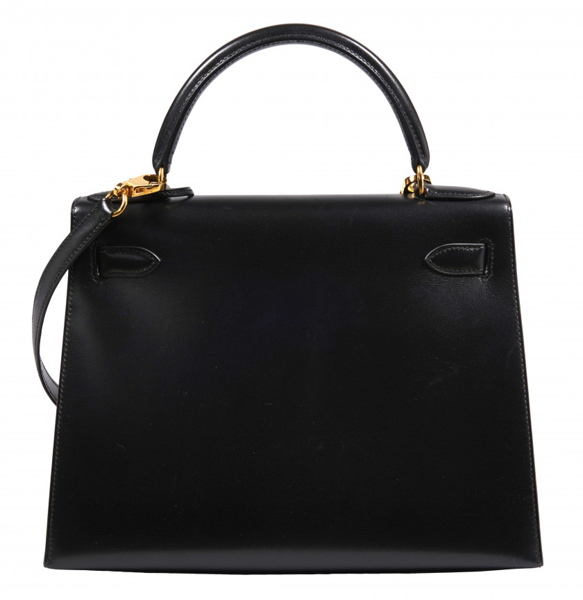 HERMÈS 1999  Sac KELLY 28 Box noir Garniture métal plaqué or  KELLY 28 bag Black box calfskin leather Gilt metal h...