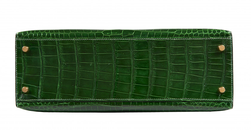 HERMÈS 1993  Sac KELLY 32 Crocodile d'estuaire Cactus (Crocodylus porosus) II/B Garniture métal plaqué or  KELLY 32 ba...