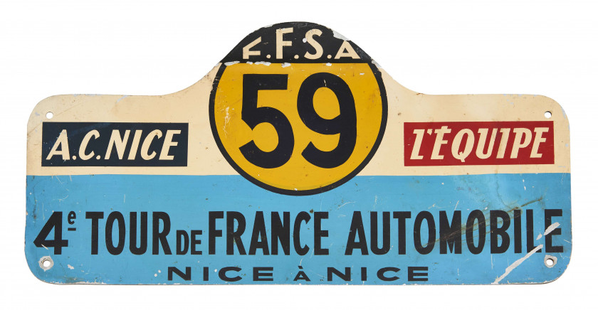 4EME TOUR DE FRANCE AUTOMOBILE - 1954  Plaque de Rallye