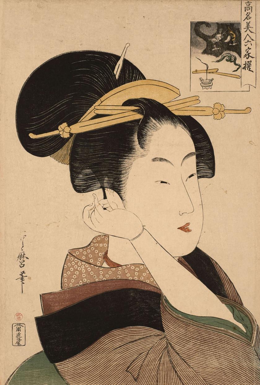Kitagawa Utamaro (1753 - 1806) Portrait en buste (okubi-e) de Tatsumi Rokô...