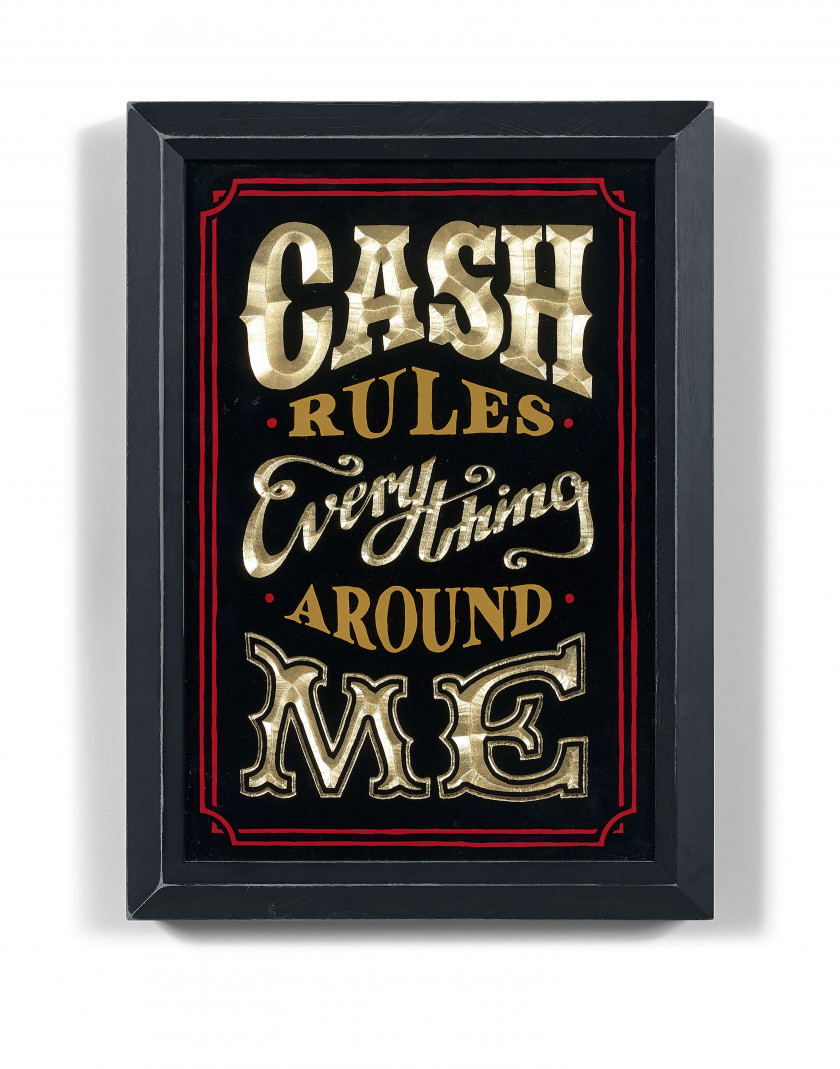 RYCA (Anglais - Né en 1982) Cash Rules Everything Around Me - 2015 Bois sculptée