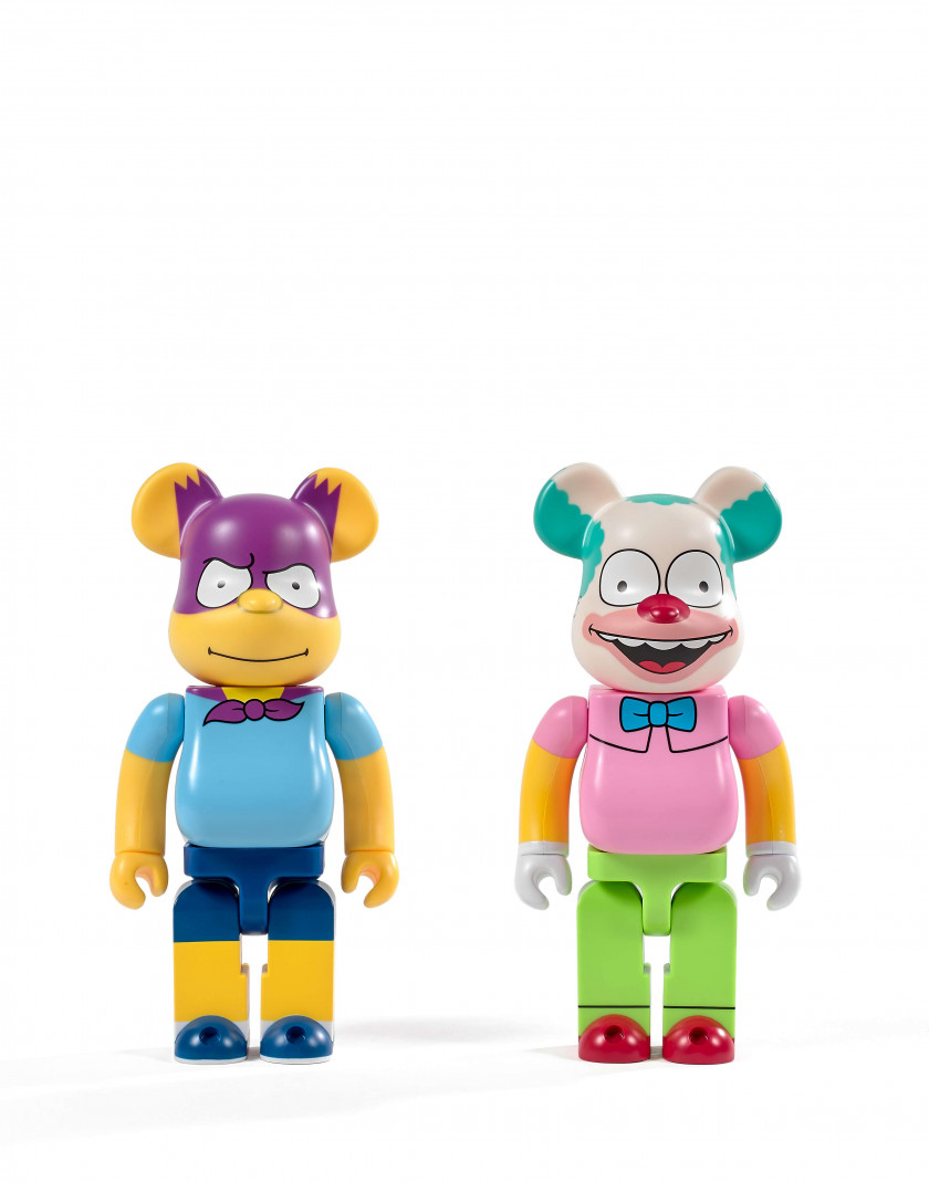 MEDICOM x THE SIMPSON  Be@rbrick 400% / 20th Century Fox - Krusty the clown et Bartman - 2017 (Set de 2) Vinyle