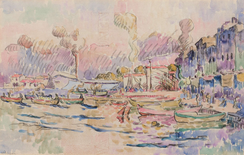 Henri PERSON 1876 - 1926 Le port de Toulon Aquarelle et crayon gras sur papier