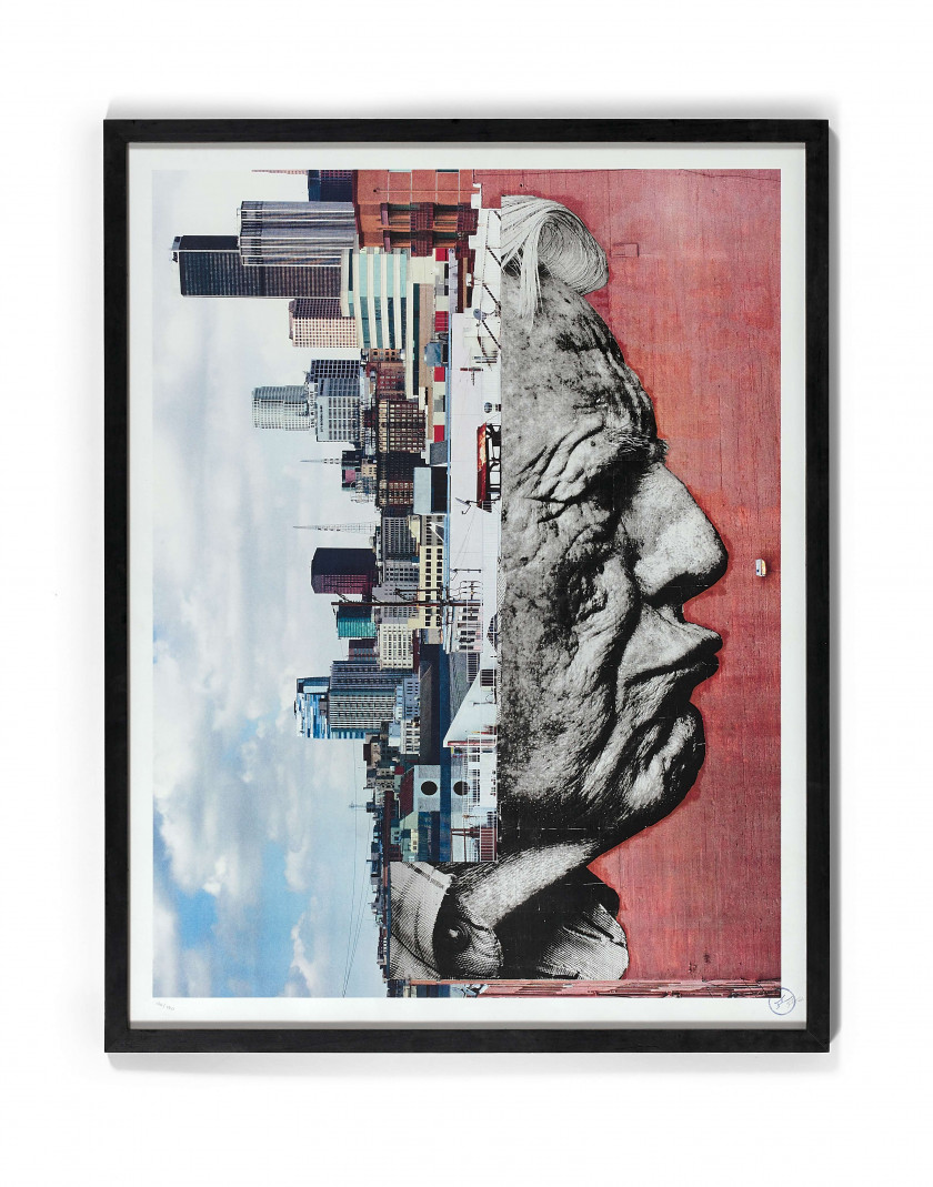 J.R. (Français - Né en 1984) Wrinkles of the City - Robert Upside Down - 2012 Lithographie sur papier