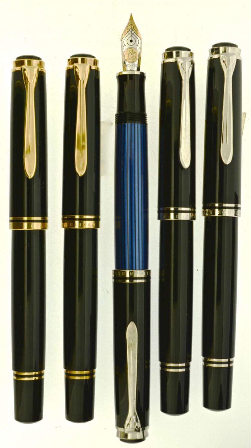 c971f29570b PELIKAN Lot de 5 stylos plume   deux M800 noir et or + deux M805 noir