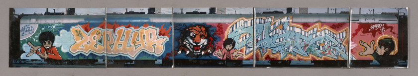 ¤ Henry CHALFANT Américain - Né en 1940 Zephyr and Duster / Eye of the Tiger (Artrain Graffiti Train) - 1986 5 tirages photographiques.