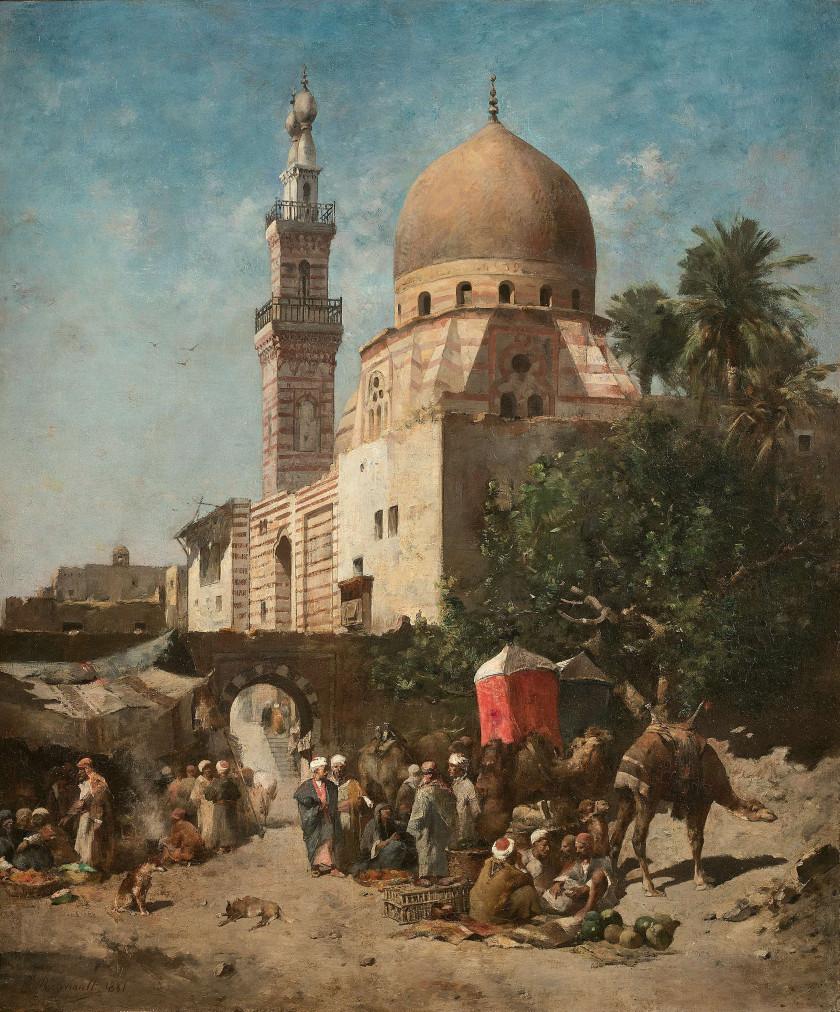 Emile REGNAULT de MAULMAIN 1836 - 1897 L'arrivée de la caravane devant la...