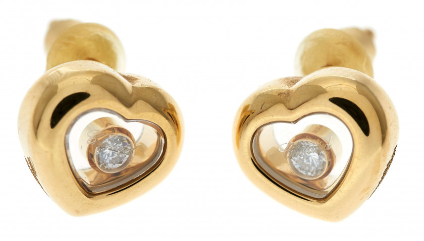 "CHOPARD  Paire de boutons d'oreilles ""Happy Diamonds"""