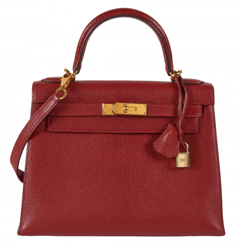 HERMÈS 2004  Sac KELLY Sellier 28 Chèvre Mysore rouge Garniture métal plaqué or  KELLY Sellier 28 bag Red Mysore goa...