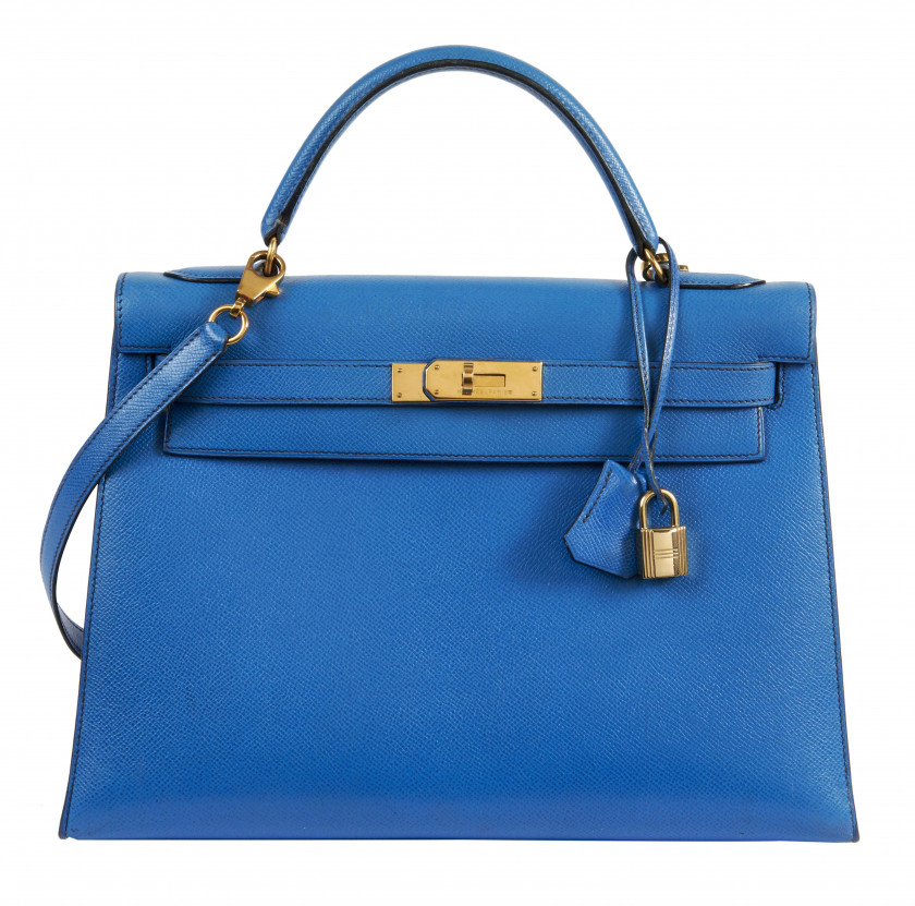 HERMÈS 1992  Sac KELLY Sellier 32 Veau Epsom bleu Hydra Garniture métal plaqué or  KELLY Sellier 32 bag Blue Hydra E...