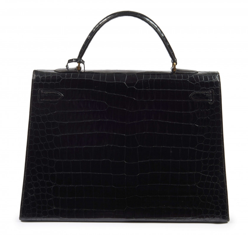 HERMÈS  Sac KELLY Sellier 35 Crocodile d'estuaire noir (Crocodylus porosus) Pré-Convention I/A Garniture métal plaqué or ...