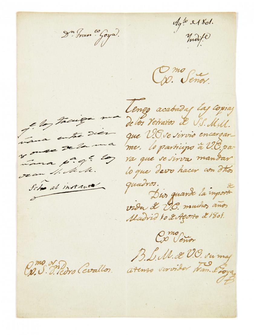 FRANCISCO DE GOYA Y LUCIENTES (1746-1828) Lettre autographe signée à Pedro...
