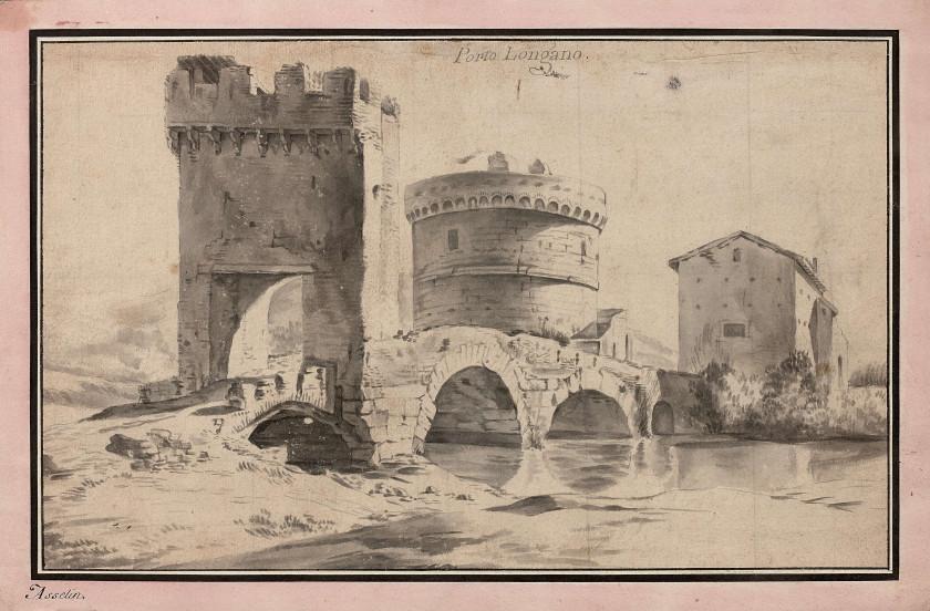 Jan ASSELYN Dieppe, vers 1600 - Amsterdam, 1652 Vue d'un pont en Italie