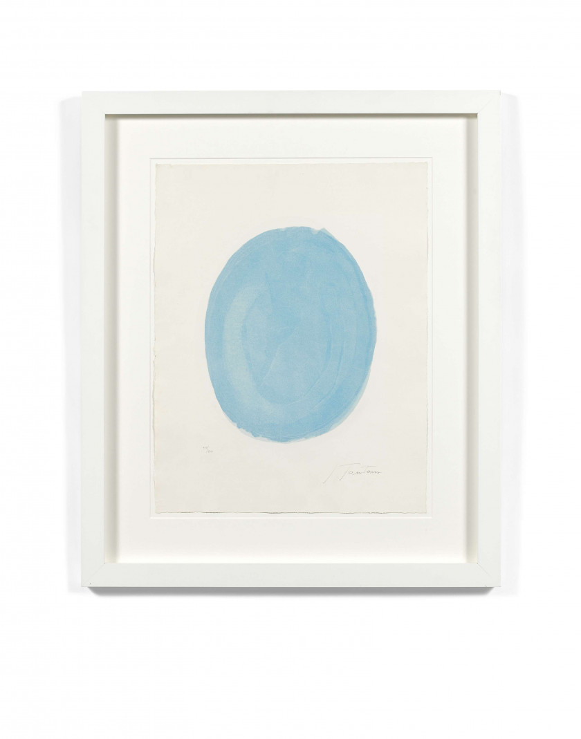 Lucio FONTANA (1899 - 1968) Nudo azzurro (Blue oval with nude) - 1967