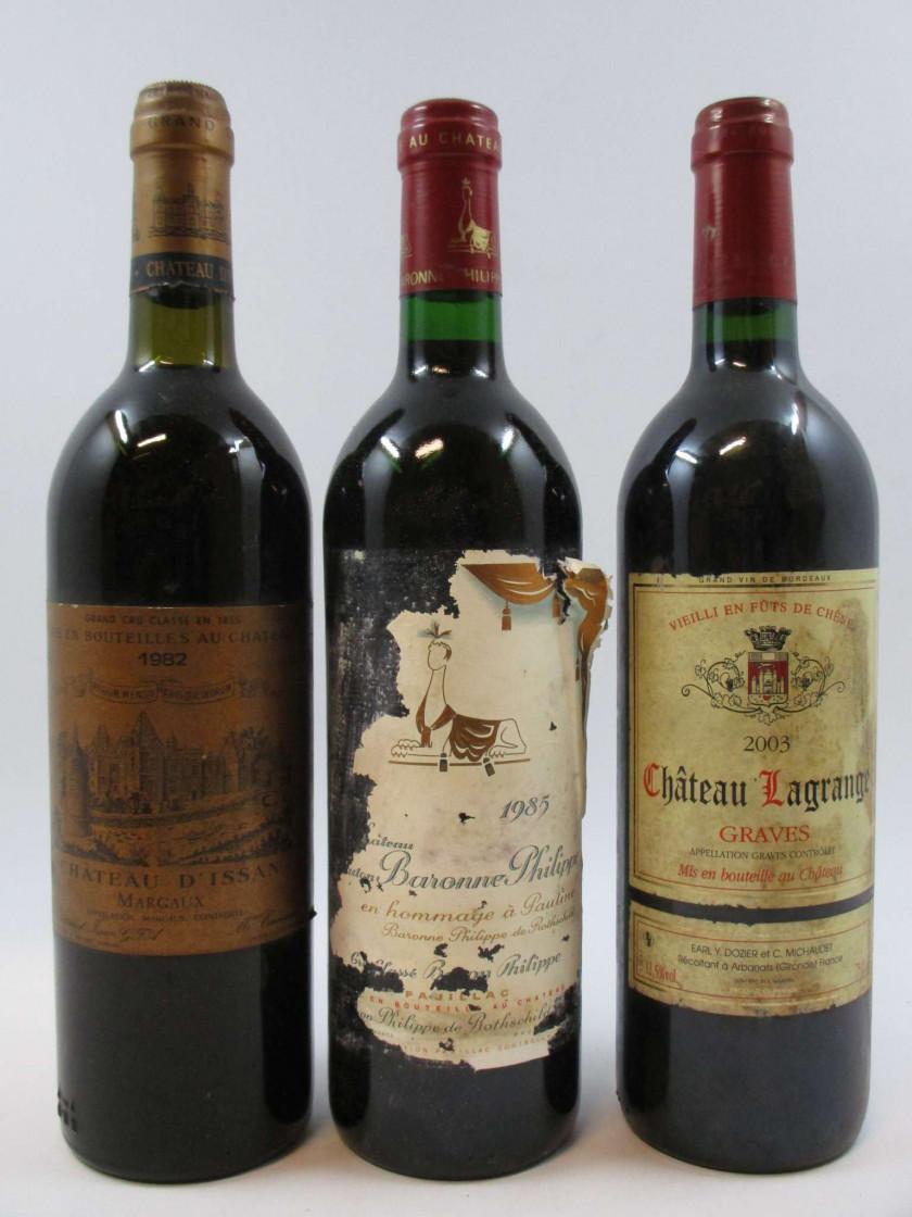 3 bouteilles 1 bt : CHÂTEAU MOUTON BARON PHILIPPE 1985 5è GC Pauillac...