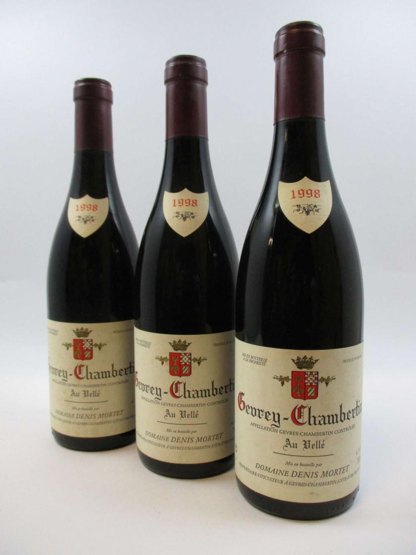 3 bouteilles GEVREY CHAMBERTIN 1998 Au Vellé