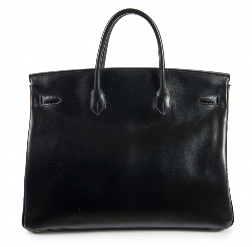 HERMÈS 2011  Sac BIRKIN 40 Box noir Garniture métal argenté palladié  BIRKIN 40 bag Black box calfskin leather Sil...