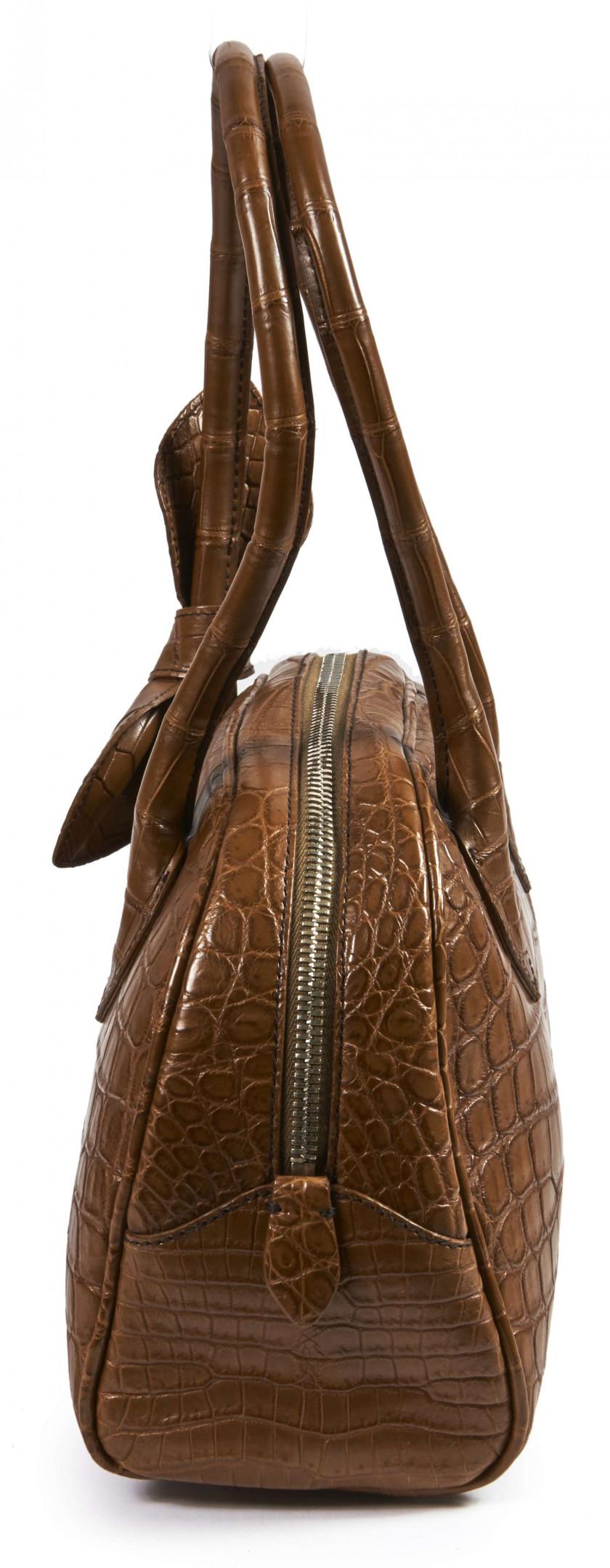 ALAÏA  Sac BAULETTO Crocodile tabac (Crocodylus) II/B Garniture métal chromé (26 x 18 x 11 cm)  BAULETTO bag Tobacco...