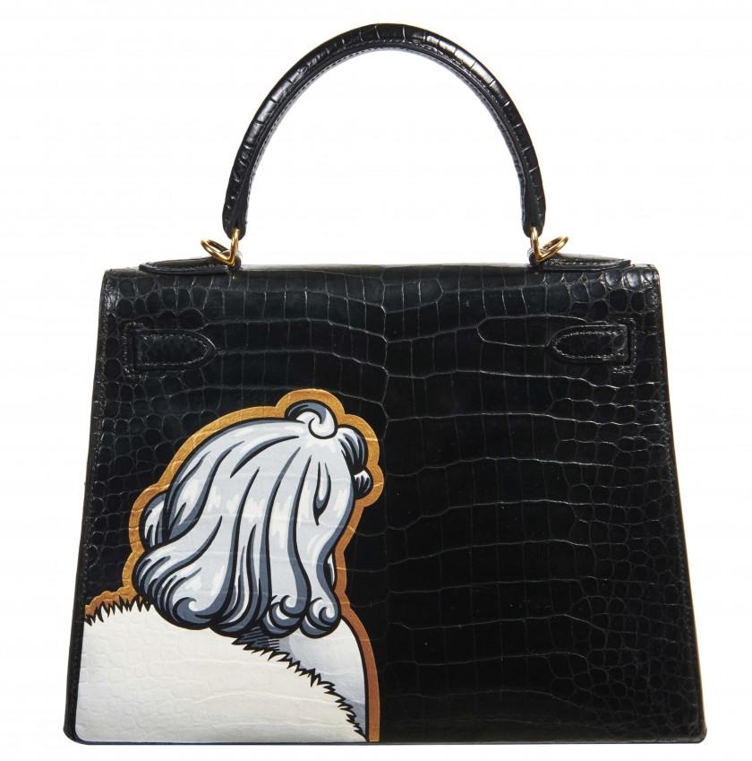 "HERMÈS - BOYARDE  ""Diamond is forever"" MARILYN MONROE - 2018  Sac KELLY Sellier 28 Crocodile d'estuaire noir (Crocodylus p..."