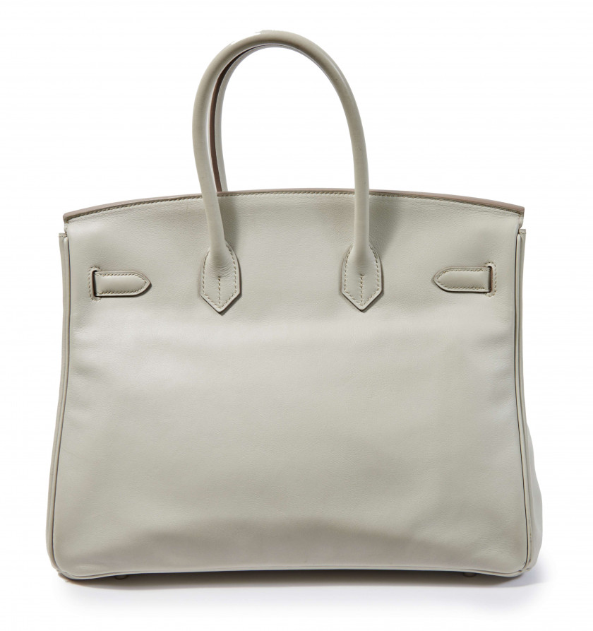 HERMÈS 2011  Sac BIRKIN 35 Veau Swift gris Perle Garniture métal argenté palladié  BIRKIN 35 bag Grey Perle Swift ca...