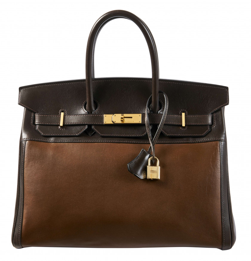 HERMÈS 1999  Sac BIRKIN 35 Amazonia et box marron Garniture métal plaqué or  BIRKIN 35 bag Brown Amazonia and box ca...