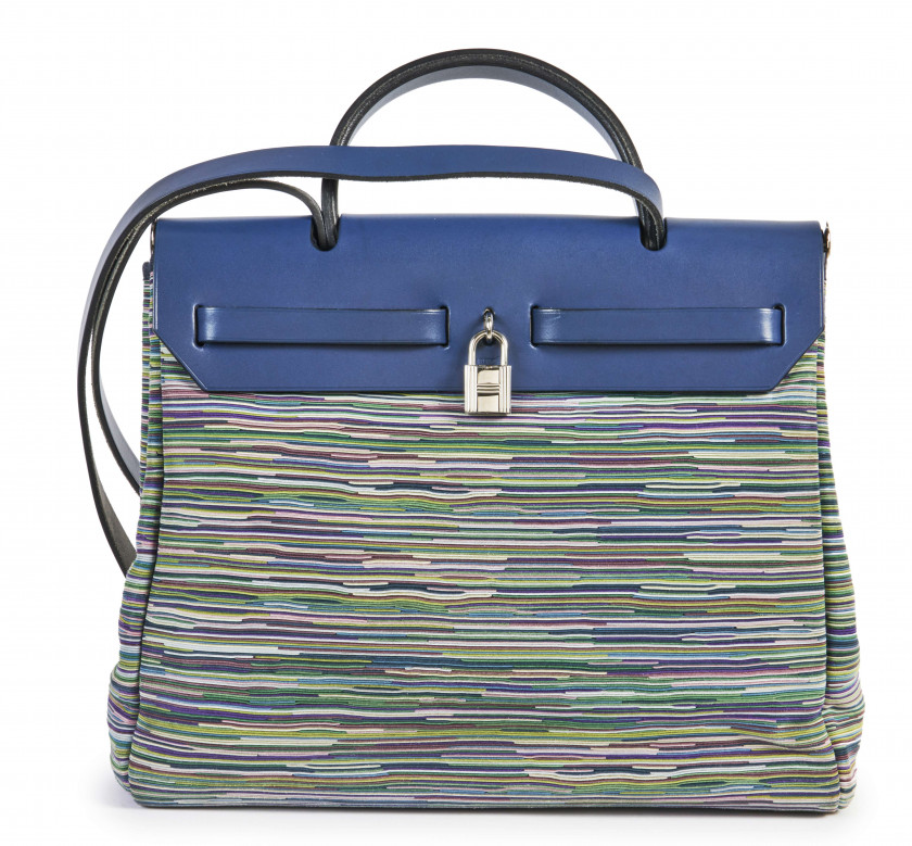 HERMÈS  Sac HERBAG 31 Vibrato et vache Hunter bleu Garniture métal argenté palladié  HERBAG 31 bag Blue Vibrato and Hu...