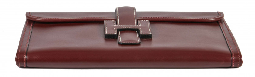HERMÈS 2002  Pochette JIGE Box bordeaux Piqué sellier blanc  JIGE clutch Burgundy box calfskin leather White saddl...