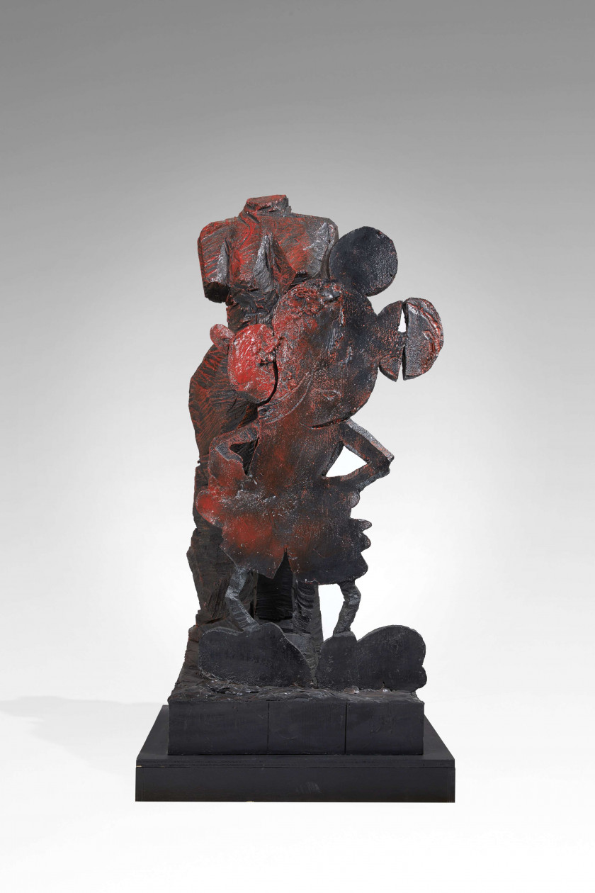 Jim DINE (Né en 1935) VENUS AND MOUSE - 1996 Bronze et bois peints