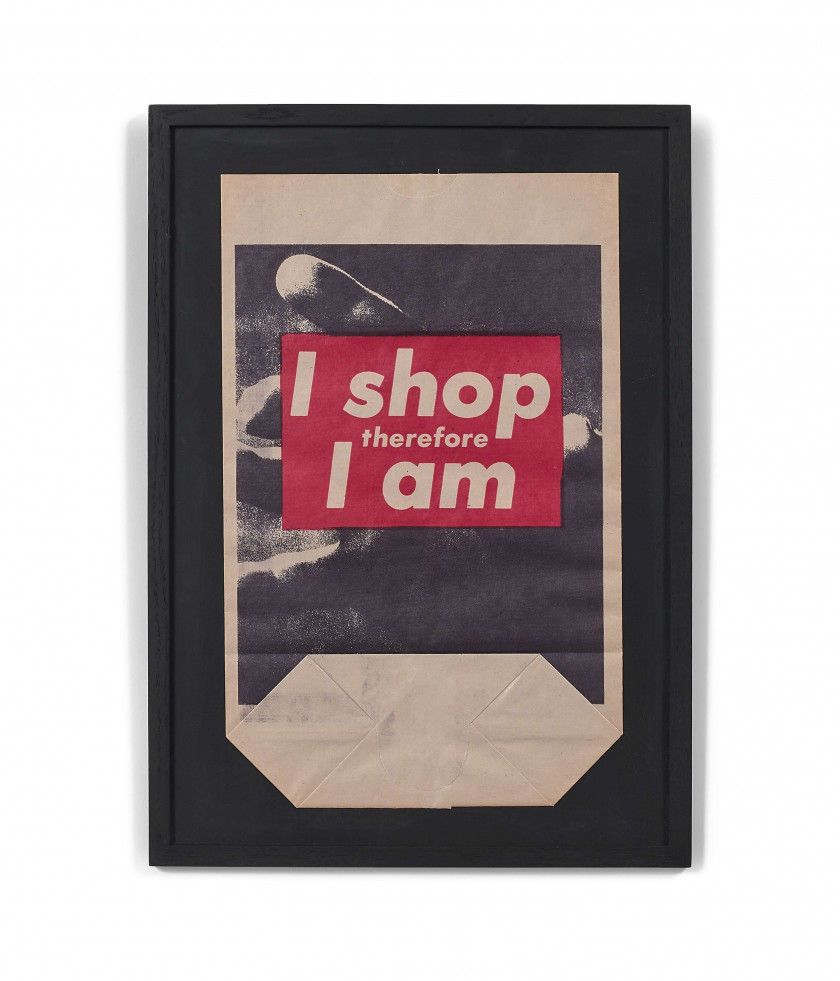 Barbara KRUGER Née en 1945 I shop therefore I am - 1990 Photolithographie en couleurs sur sac de papier kraft