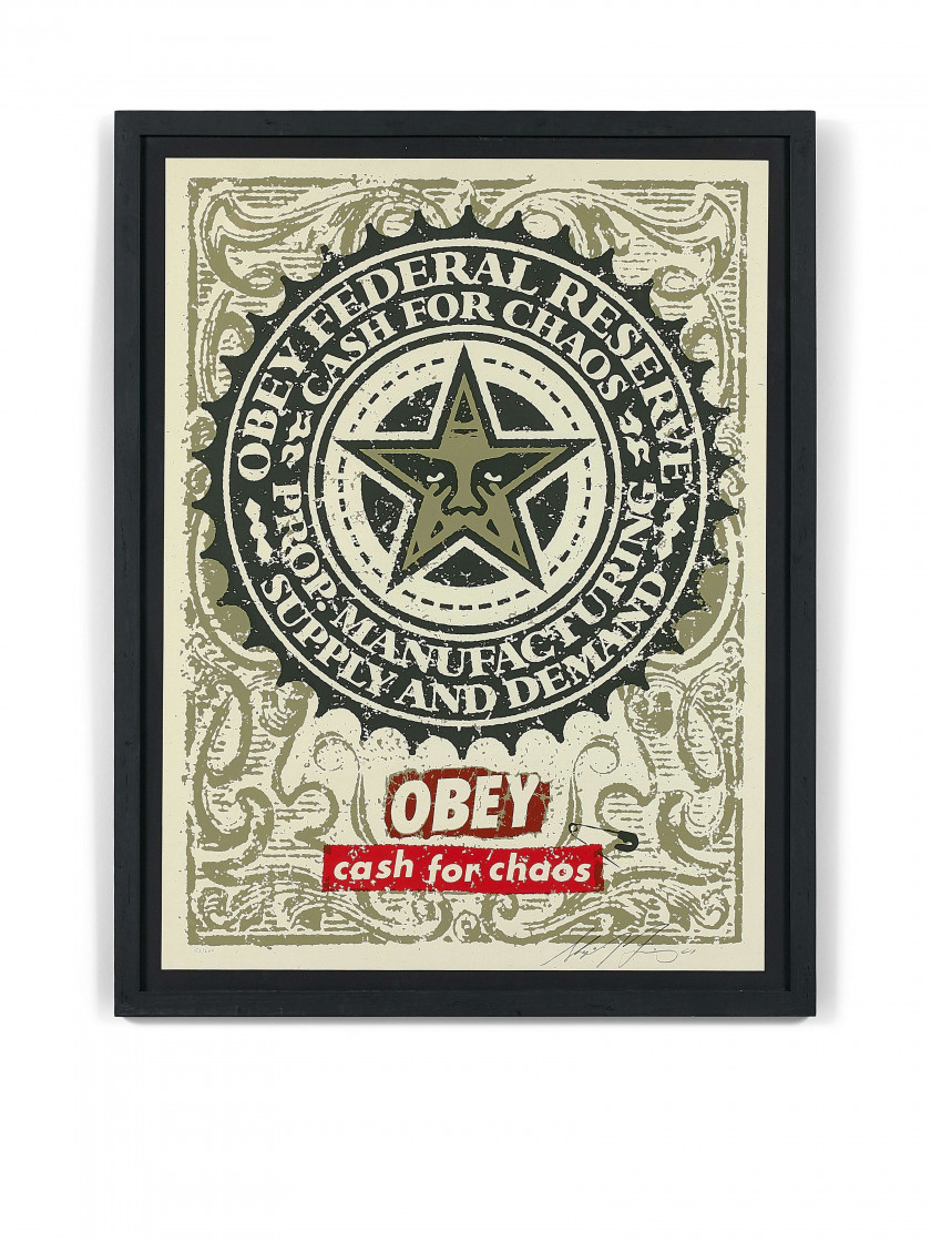 Shepard FAIREY (Alias OBEY GIANT) Né en 1970 Cash for Chaos - 2001 Sérigraphie en couleurs