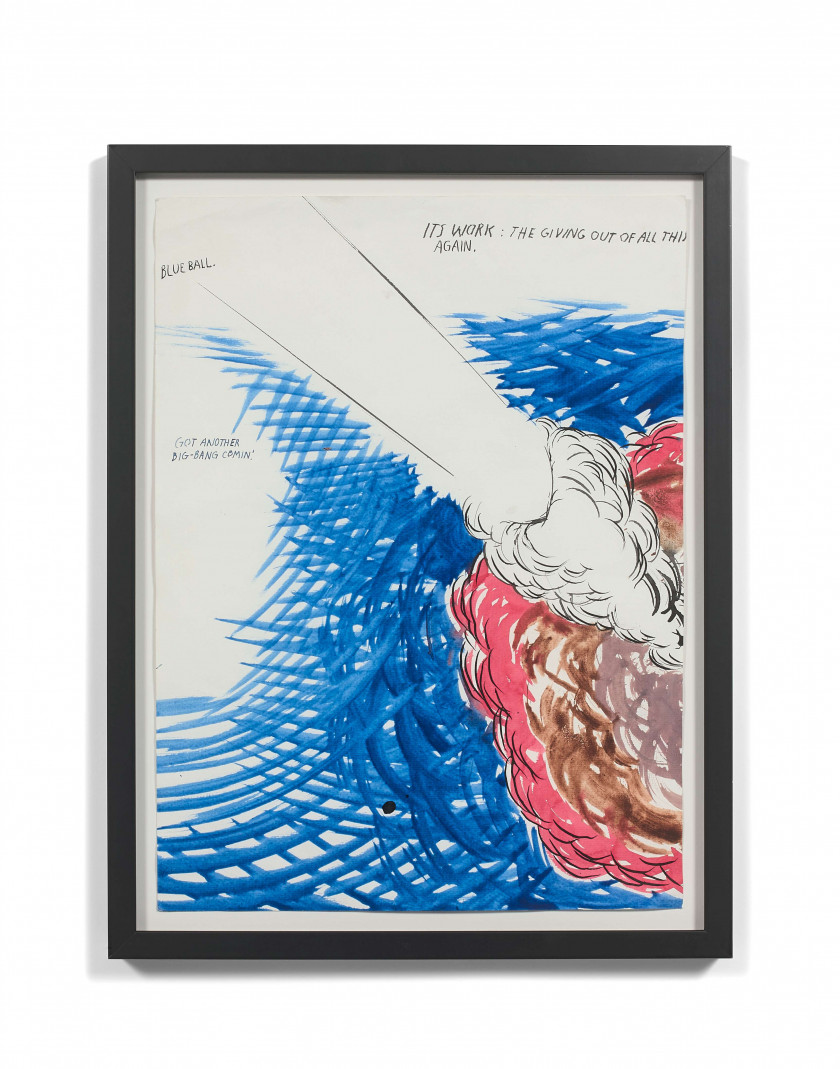 Raymond PETTIBON (Américain - Né en 1957) Untitled (Blue Ball...) - 2003 Technique mixte sur papier