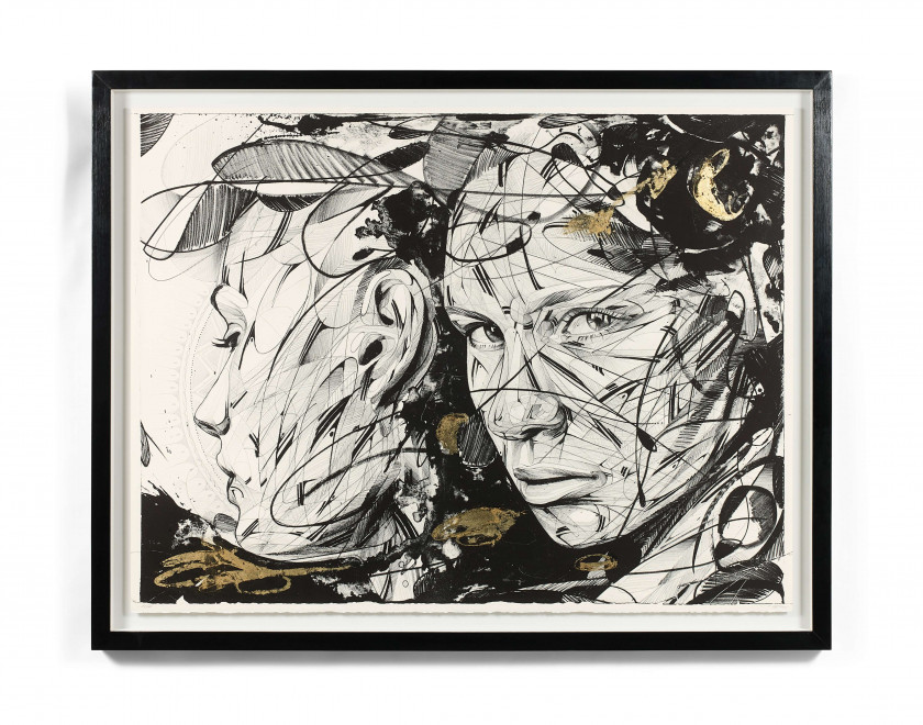 "HOPARE (Français - Né en 1989)  Oxymore- 2018  Lithograph in black enhanced with gold leaves ; signed and numbered ""16/16"" ..."
