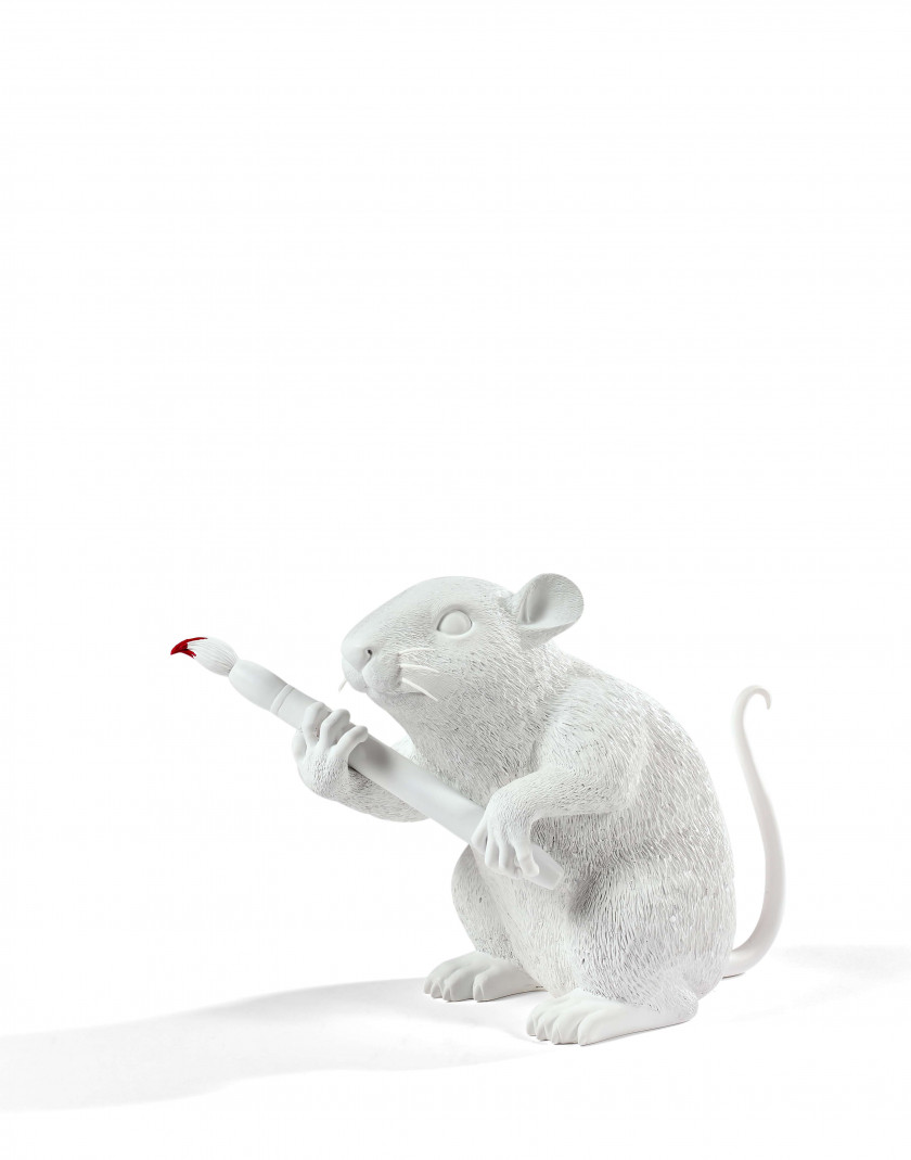 Medicom Toy x Sync Brandalism Collection   Banksy: Love rat ( blanc) - 2016  Polystone; numbered on the packaging In its o...